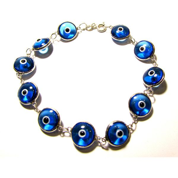 Turquoise Evil Eye Bracelet Sterling Silver Amulet Protection Good Luck Mati Lampwork Glass Beads Chain Link Greek Jewelry Gift For All (€17) found on Polyvore featuring women's fashion, jewelry, bracelets, mati jewelry, evil eye bangle, blue turquoise jewelry, turquoise beaded jewelry and sterling silver jewelry