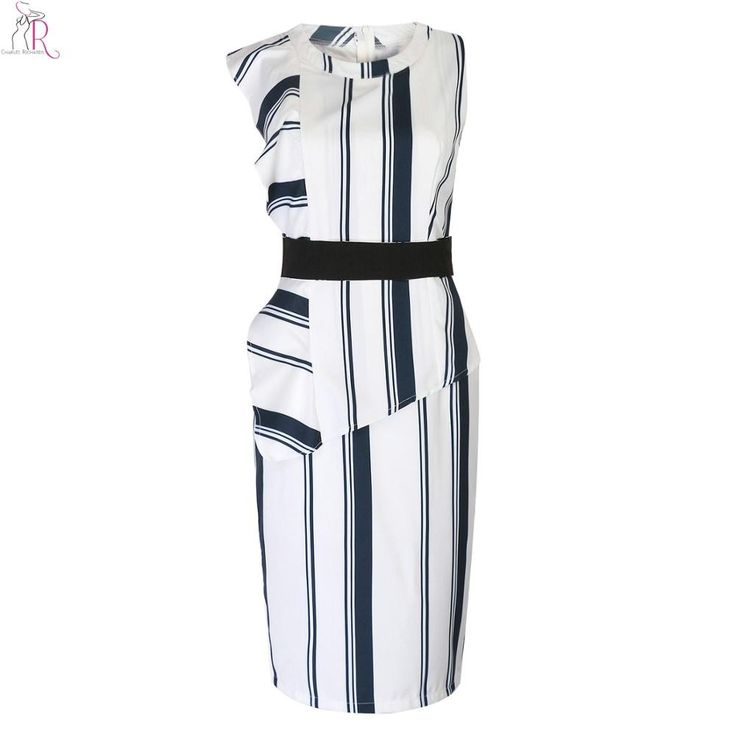 White Asymmetric Ruffled Midi Bodycon Dress Sheath Sleeveless Back Split Striped OL Work Streetwear Women Summer