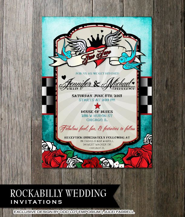 Rockabilly Wedding Invitation Set With Sparrow Lovebirds Tattoo Heart And  Roses Rock N Roll Style Wedding Invites Rock A Billy Stationery