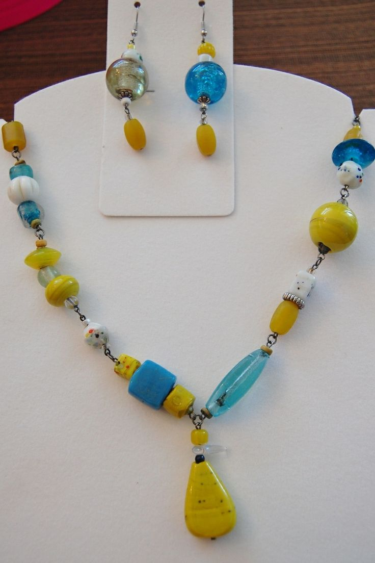 Jewelled Designs - Turquiose and Sunshine glass necklace and earrings set, $60.00 (http://www.jewelleddesigns.com/turquiose-and-sunshine-glass-necklace-and-earrings-set/)