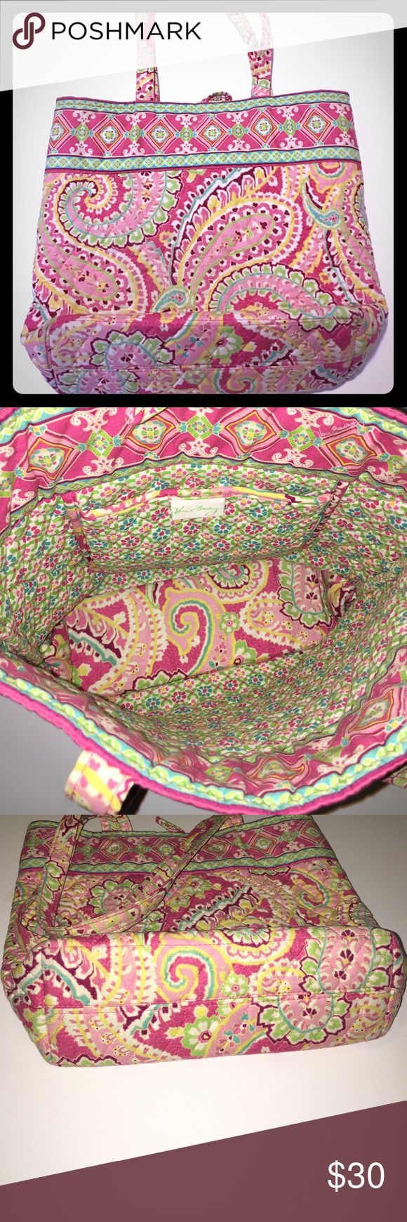 Vera Bradley Tote Vera Bradley tote. The color is called Capri Melon and it is retired. The button on the front is missing, but other than that it is in excellent condition! Bags Totes
