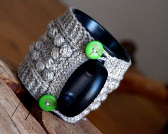 Items similar to Knit coffee mug cozy / mug warmer with cable pattern, grey cup sleeve,butterfly button on Etsy