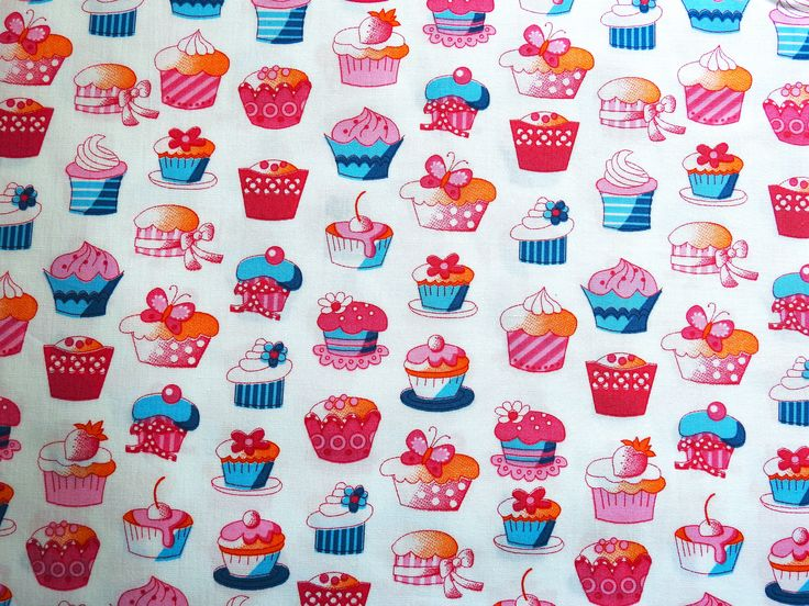 Craft fabric with cupcake pattern  www.textilebird.co.uk