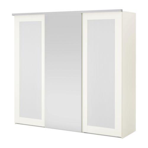 ELGÅ Armoire 3portes coulissantes - blanc/Aneboda Fenstad - IKEA