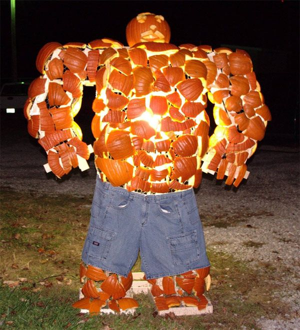 The Thing from the Fantastic Four in pumpkin form