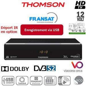 THOMSON THS805 HD - 12Volts - PVR via USB - Déport IR en option - HDMI - Péritel - Terminal numérique HD avec carte Viaccess Fransat à vie sur Atlantic Bird 3 + Cordon HDMI offert