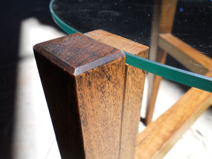 Balau (Lauan) table leg treated with ferrous oxide to blacken it.