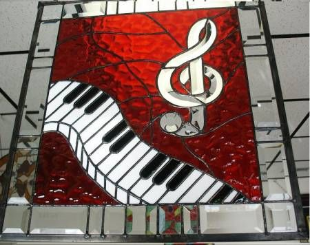 Music themed stained glass. #music #artwork #stainedglass www.pinterest.com/TheHitman14/music-art-%2B/