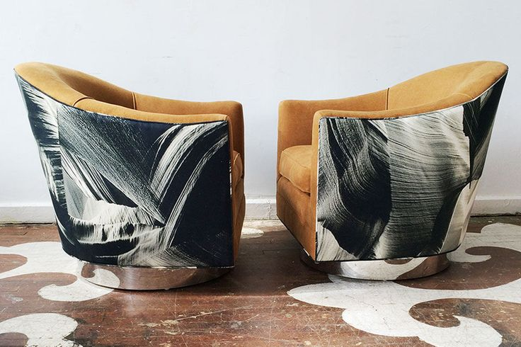 We made this pair for Studio Four NYC for display in their beautiful & newly expanded studio. The patterned textile on the chair backs is Canyons in Black & White by Australian designer Sharyn Storrier Lyneham of Edit. The solid fabric is a Studio Four original textile, Antwerp in Antelope, a stone washed linen from Belgium.     Our custom swivel chairs can be upholstered in any fabric with bases in multiple finishes. They are built to our specifications by George Coldren of Coldrendesign.