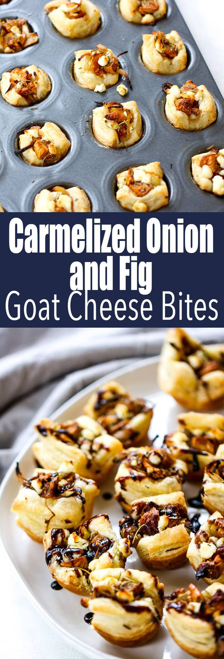 Caramelized Onion, Fig & Goat Cheese Bites melt in your mouth and open you up to a whole new world of flavor #fig #goatcheese #appetizer #newyearseveappetizer #caramelizedonion