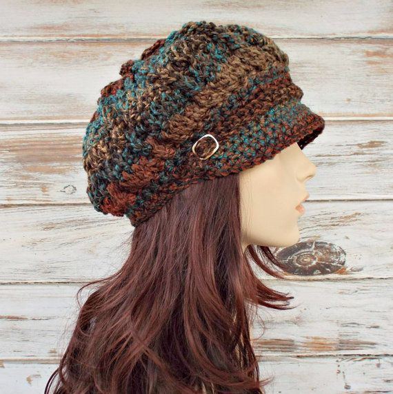 Womens gehaakte hoed Womens Hat krantenverkoper Hat - voorjaar Monarch geribde Hat - roest Teal bruin krantenverkoper muts - Womens accessoires
