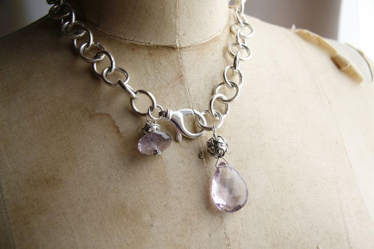 Sterling silver chain and beads with lilac amethyst accent stones.