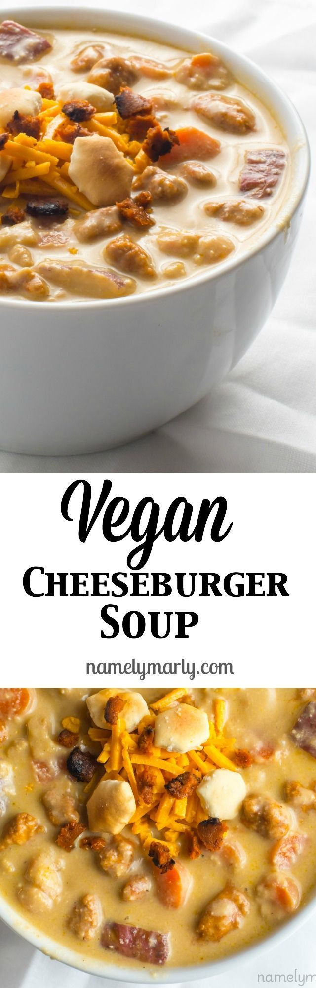 Take a bite out of this delicious Vegan Cheeseburger Soup recipe and come back for more. It's a creamy soup made with cashews, potatoes, carrots, and cheese. A perfect weeknight meal.