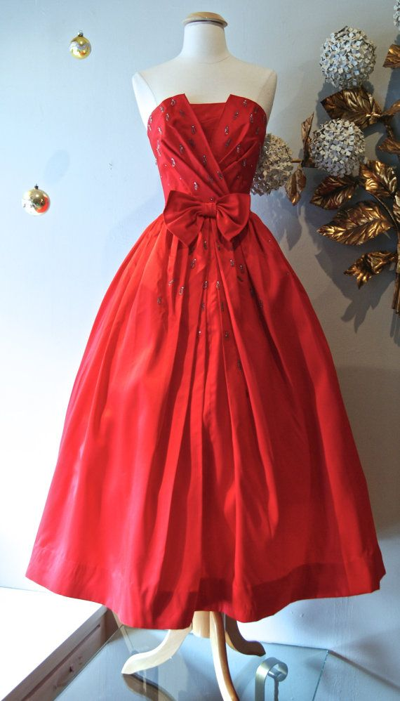 1950s Dress // Vintage 50s Strapless Red Teardrop by xtabayvintage, $298.00