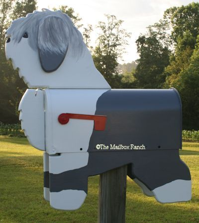 Old English Sheepdog Dog Mailbox by The Mailbox Ranch,Unique Custom, Handmade,Novelty,Specific Breed Dog Mailbox