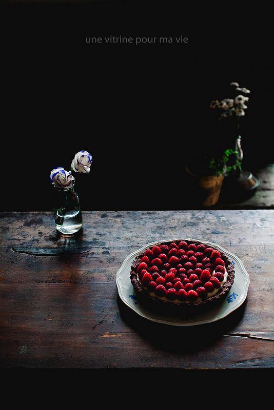 Chocolate Mascarpone Tart with Raspberries | Une Vitrine Pour Ma Vie