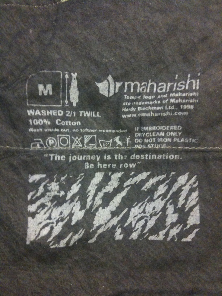 Maharishi quote on inside of a pocket - clothing as media