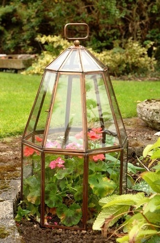 Garden Cloches. Great idea: use old light fixtures.