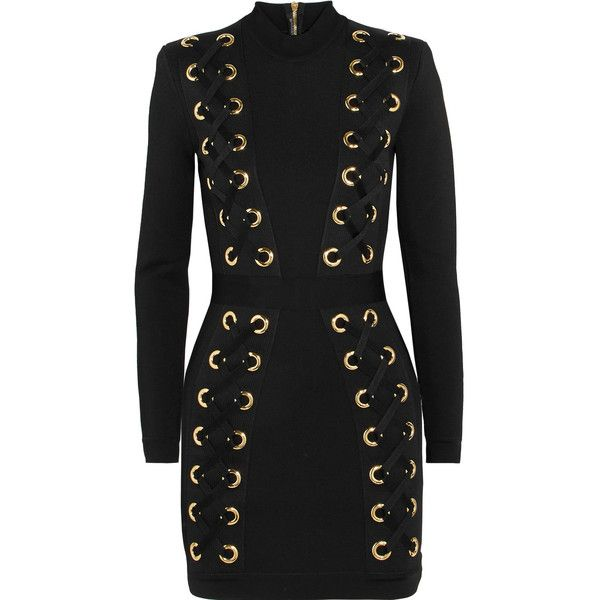 Balmain Lace-up stretch-jersey mini dress (£2,150) ❤ liked on Polyvore featuring dresses, balmain, lace up dress, balmain dress, zipper dress, body con dresses and eyelet dress