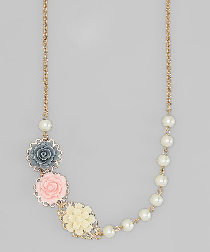 This Charlotte Rose Couture Pink & Gray Flower Cabochon Necklace by Charlotte Rose Couture is perfect! #zulilyfinds