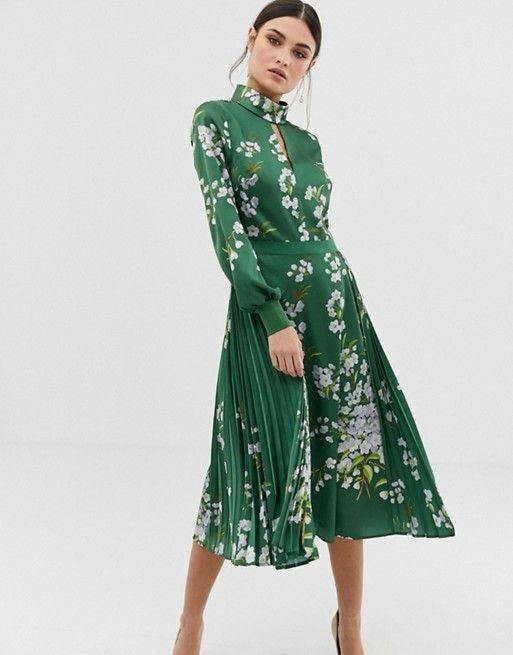 b46853f85 Ted Baker Jhenni print midi dress with pussybow in 2019
