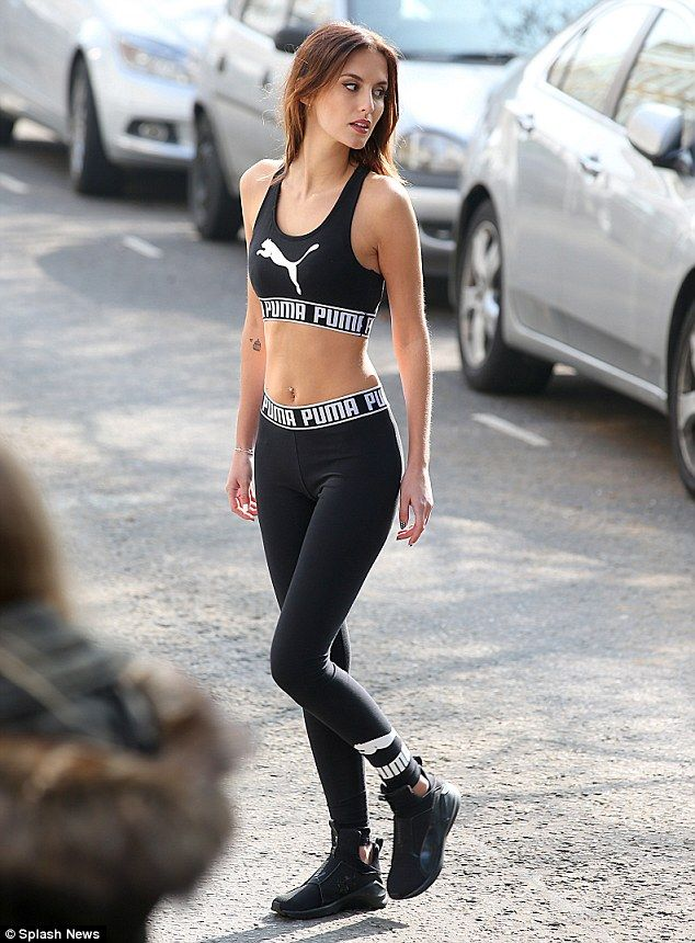 Workout wonder: It came as no surprise to see Puma had chosen fitness fanatic Lucy Watson to front their latest campaign, enlisting the reality star to model their workout gear on the streets of Chelsea on Friday