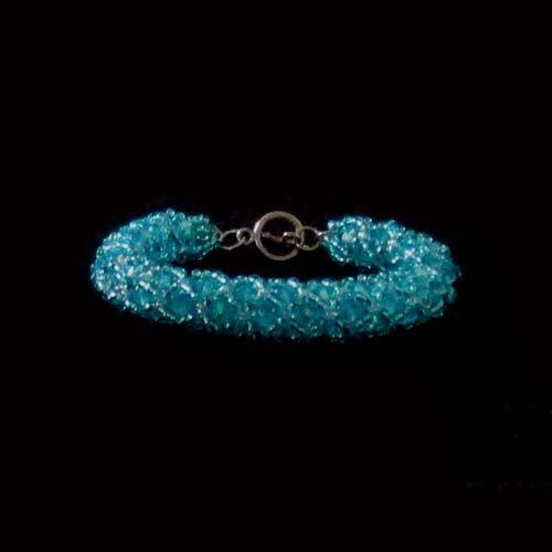 pulseira espiral de cristais contas 4mm aquamarine, e miçangas.