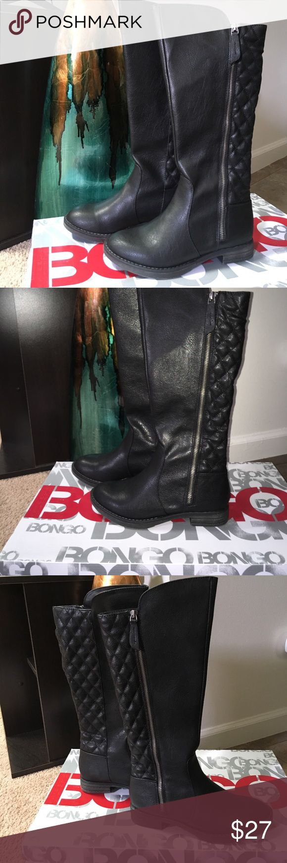 """BONGO """"Bailey"""" quilted black boots NIB 5.5M BONGO black knee high boots. Ladies shoe size 5.5M """"Bailey"""". Lightly textured faux leather look with quilted back panel, side zipper, round tapered toe, 1"""" rubber faux wood look heel. Pewter zipper with 2"""" pull tabs. New with tags on original box. Box has slight signs of storage and sticker removed. Inner boot is lined. BONGO Shoes Winter & Rain Boots"""