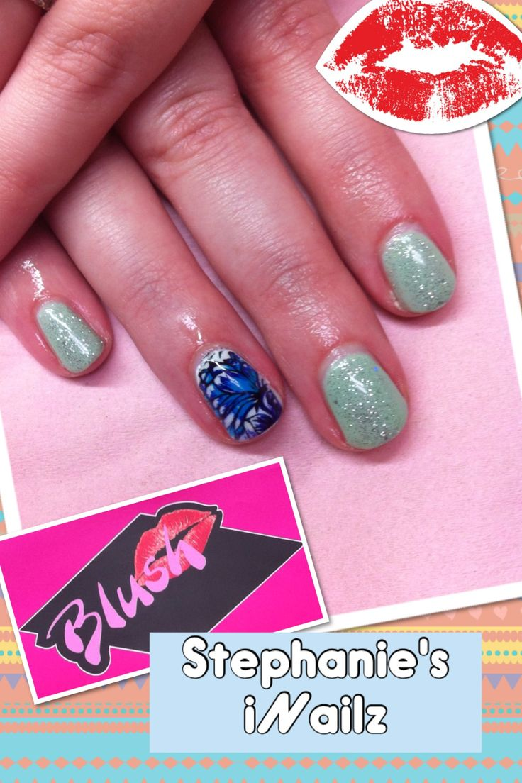 Blue Floral iNailz with Mint Convertible Shellac