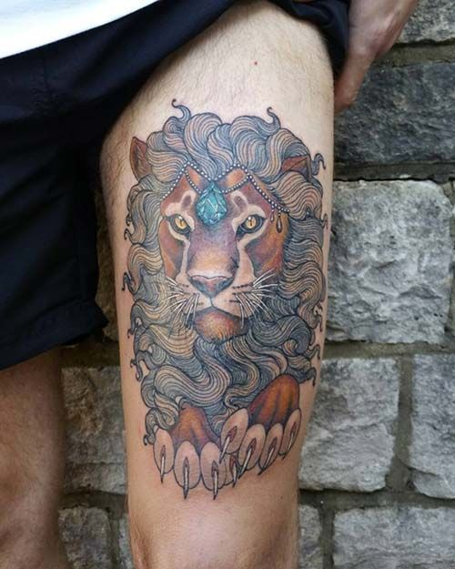 lion tattoo with jewelry elmaslı aslan dövmesi