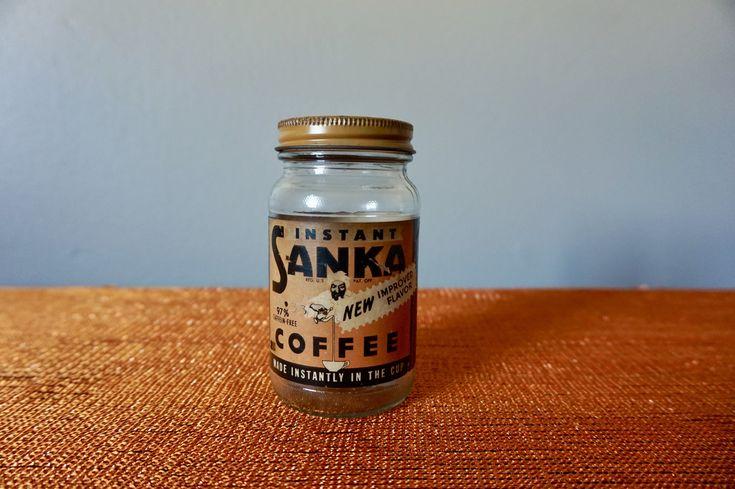 Vintage Mid Century Sanka Coffee Jar / Retro Kitchenware / Vintage Bottles / Home Decor / Novelty / Collectibles / Kitsch / Vintage Coffee #vintagecoffee