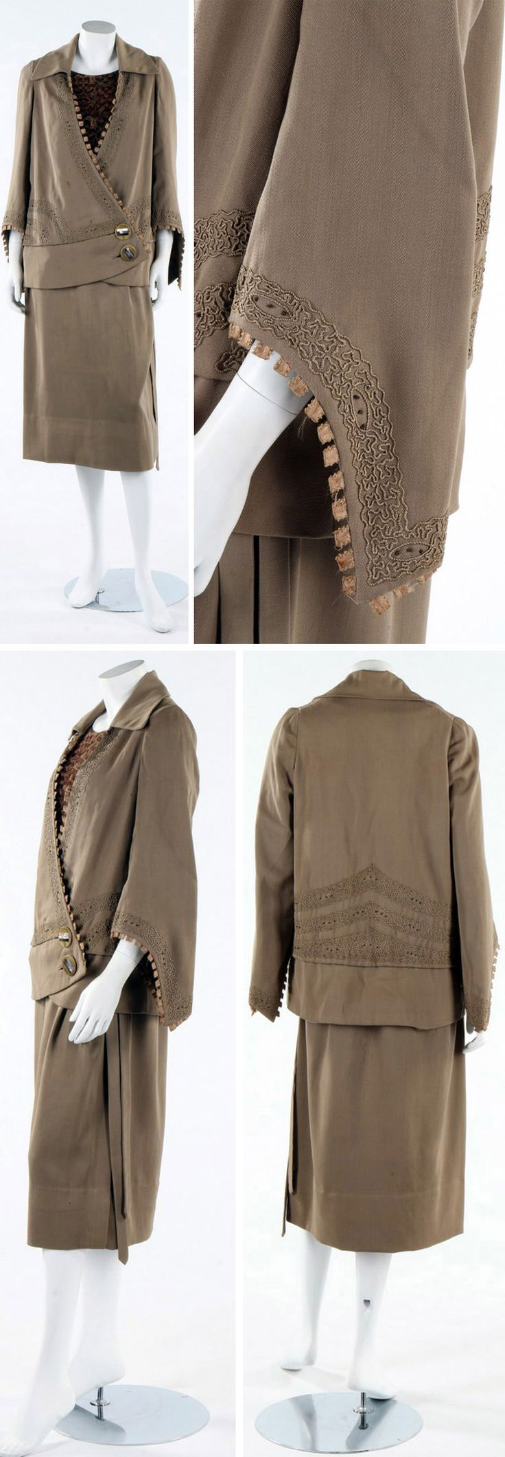 Day ensemble, Redfern, ca. 1923. Jacket of khaki wool with couched vermicular threads & silk rib tabs. Large celluloid buttons at waist; matching dress with tie at waist. Bodice of bouclé silk-wool mix printed with foliate bands in autumnal shades, with open shoulders to sleeves. Kerry Taylor Auctions