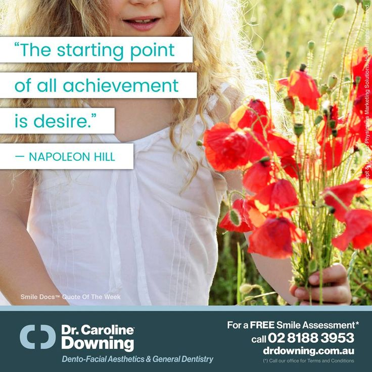 "#InspirationalQuote — ""The starting point of all achievement is desire."" —Napoleon Hill / For a Free Smile Assessment*, please call 02 8188 3953 - www.drdowning.com.au#SmileDocs #SmileDeals #carolinedowning #dental #practice #cosmetic #services #implant #invisalign #teeth #whitening #filler #neutralbay #dentist #anti #wrinkle #skincare #lip #fillers #porcelain #crowns #veneers #bridge #clear #braces"