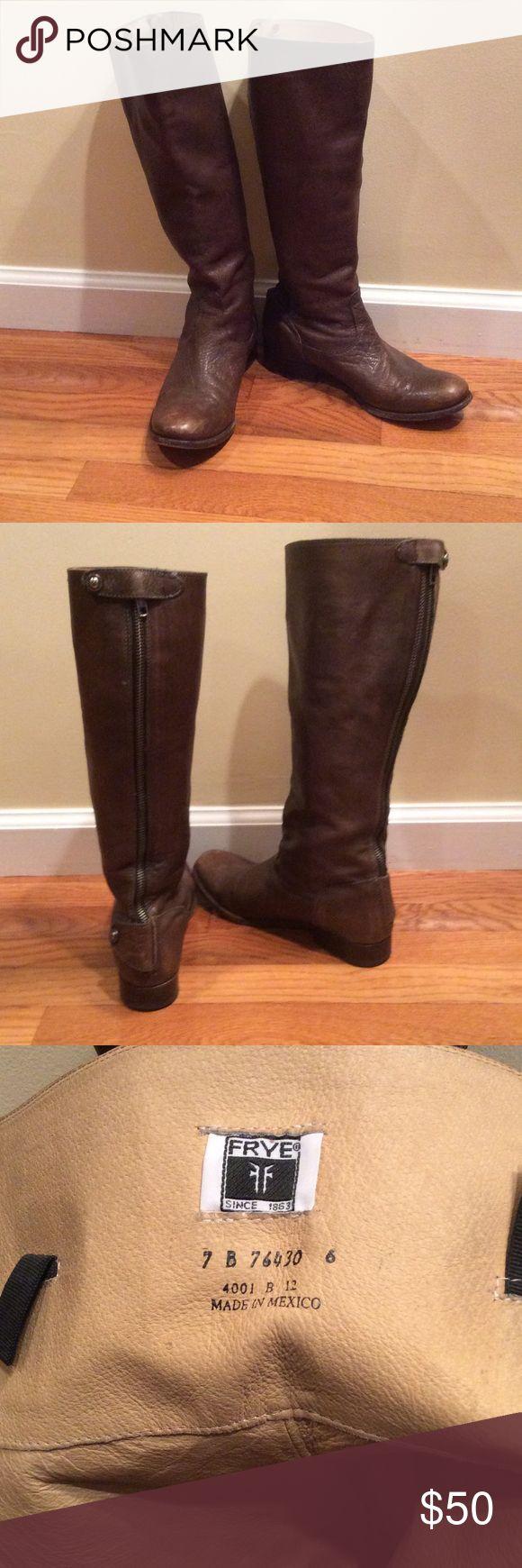 "Women's Frye Boots Frye Melissa Button Back Zipper Boot Shaft 15.5 "", Circumference 151/2, Heel 1"" Antique Brownish Frye Shoes Heeled Boots"