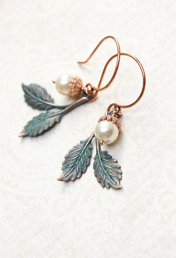Patina Branch Earrings Rose Gold Drop Pearl Acorn Earrings Woodland Jewellery Nature Inspired Rustic Leaf Dangle Copper Winter Wedding by apocketofposies