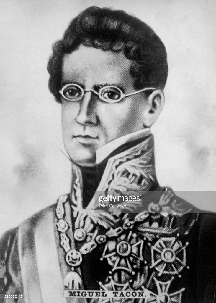 General Miguel Tacon, born in Cartagena (Spain) in 1775 was captain of Cuba from 1834 to 1838. He was one of the most despotic rulers; expelled in 1834 the great patriot Jose Antonio Saco, abolished the magazine 'Revista bimestre de Cuba' and deported hundreds of sons of the country because of his liberal ideas. Cigar card from the History of Cuba, Geografico Universal, Propaganda de los Cigarros Susini y La Corona, Tabacalera Cubana.