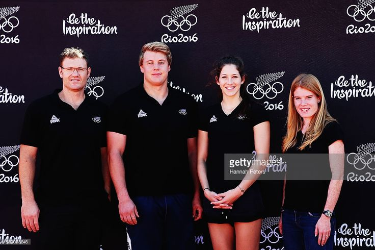 New Zealand athletes, Stuart Farquhar, Jacko Gill, Eliza McCartney and Angie Petty pose for a photo after being named in the New Zealand Olympic Athletics Team Selection announcement at the AUT Millennium Athletics Track on April 22, 2016 in Auckland, New Zealand.