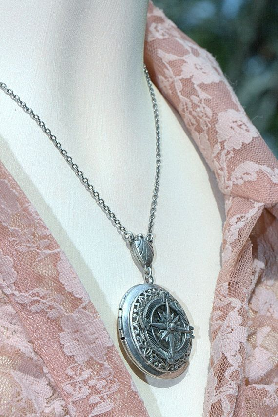 Silver Locket Necklace Compass Beach nautical wedding Bridesmaid Graduation. Steampunk steam punk Silver