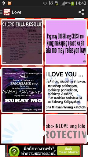 Tagalog Quotes has over Pinoy quotes. Best Tagalog quotes collection you will find.  - tagalog love quotes - pick up lines tagalog - wisdom quotes 1,000 Tagalog Quotes -Madali upang ibahagi sa Facebook, Line, Instagram * Facebook sharing + others (SMS, Email, etc.)  http://Mobogenie.com