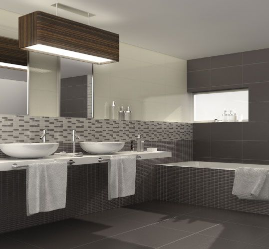 bathrooms with dark colour titles on floor & part of wall