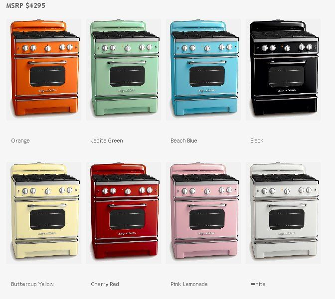 An array of color pops from Big Chill retro style stoves.
