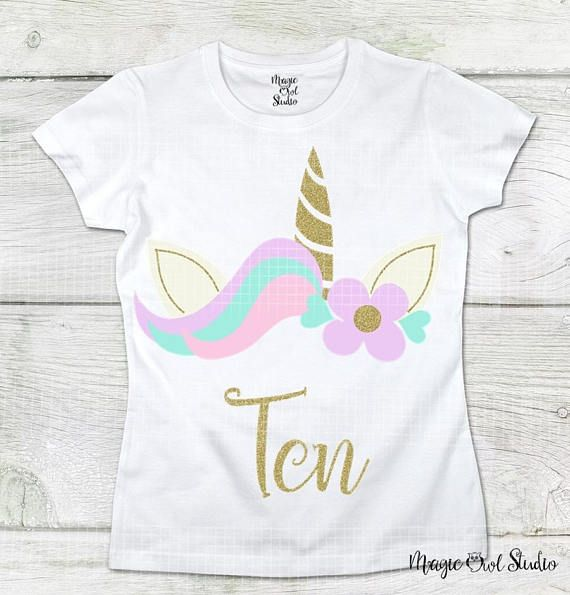 Ten Svg Unicorn Face With Flower and Hearts Svg Digital Download Files Golden Glitter Unicorn Birthday Girl Cutter files Eps Png Dxf Jpg