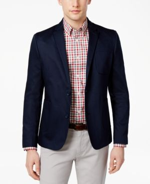 Ben Sherman Men's Classic-Fit Pique Cotton Blazer, Only at Macy's - Blue XL