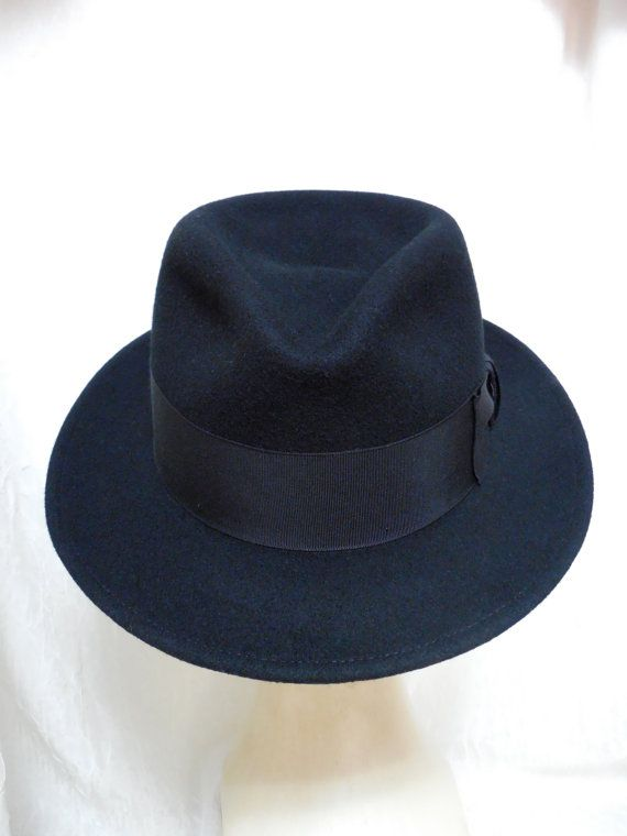 Vintage Black Wool Mallory Fedora by Stetson... by Beadgarden55, $48.00