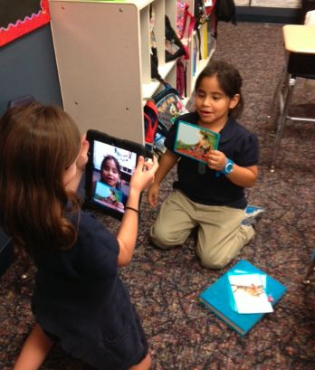 """Using ipad for retell...I love this idea!!!! Great for """"Read to Someone"""" center."""