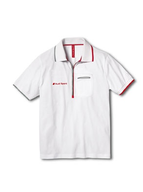 Men's Audi Sport polo shirt white.    Available from: http://www.m25audi.co.uk