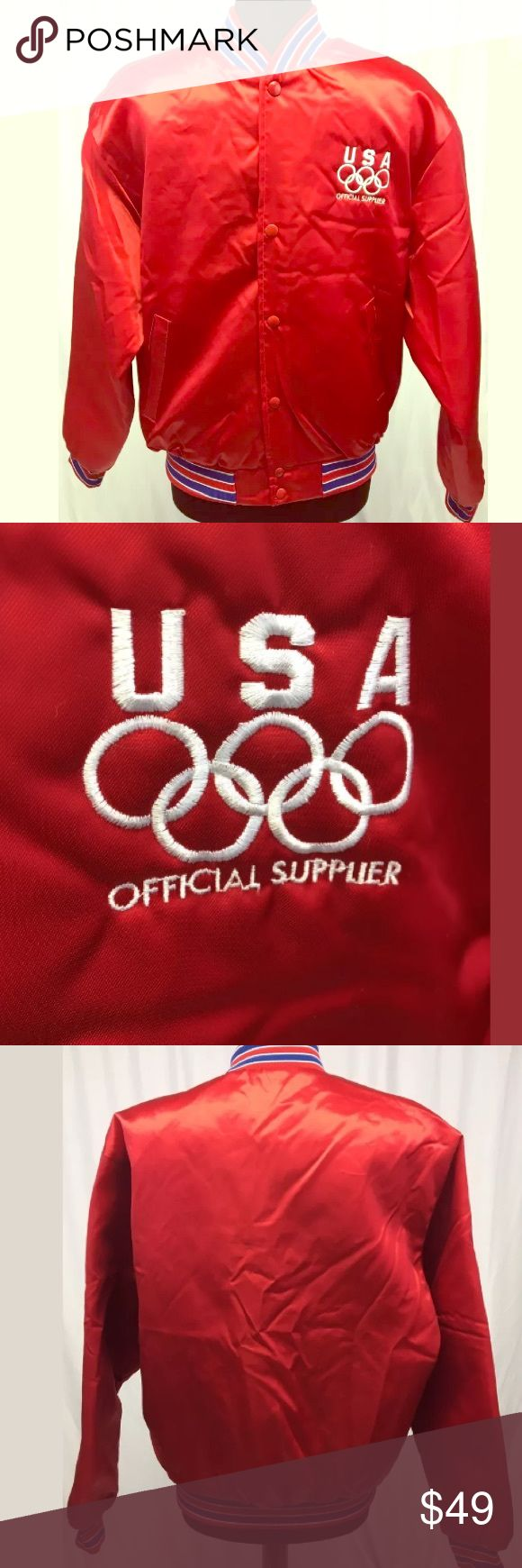 """Vintage Olympics Satin Jacket True Vintage Swingster USA Olympics Official Supplier Red Old School Style Satin Jacket, Men's Size Large; measures approx 23"""" pit to pit, 26-1/2"""" long; no flaws Swingster Jackets & Coats Bomber & Varsity"""