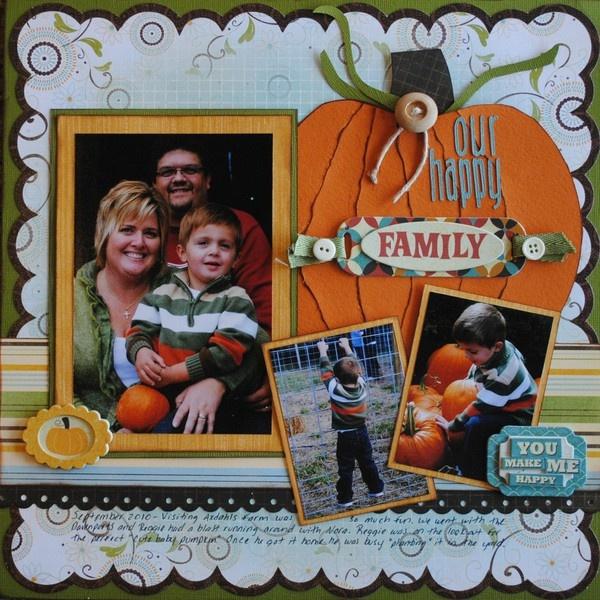 Fall Layout - love the big pumpkin!