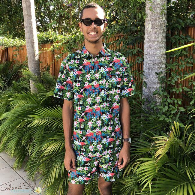 Flamingo Friday - Mens Cotton Hawaiian Shirt and Shorts - Wicked party kit