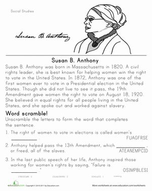 Worksheets Second Grade History Worksheets 17 best images about class on pinterest cell structure geometry historical heroes susan b anthony